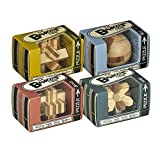 Mini-Bamboozlers Wooden Bamboo Brainteaser Puzzles (Set of 4) - Ball, Cross, Knot, Star