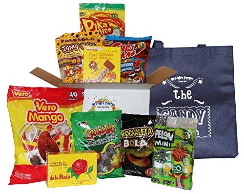 Mexican Candy Bundle. Assortment of Mexican Candies Including Vero Mango, Pulparindo, Marzipan, Pelon Mini, Rockaleta, Jovy, Tama Roca & Tote Bag.