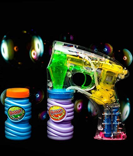 Fun Central C205 3 Pack 6 Inch LED Light Up Bubble Gun, LED Light up Gun, LED Bubble Gun, Bubble Guns, Bubble Machine Gun, Bubble Gun Blower, Bubble Gun Toy Set for Kids ()