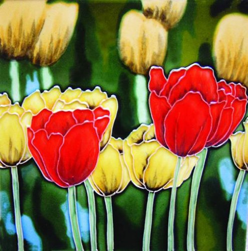 Decorative Ceramic Art Tile - Red & Yellow Tulips - Decorative Ceramic Art Tile - 8
