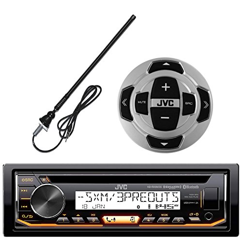 JVC In-Dash Marine Boat Yacht Bluetooth Radio USB Stereo Receiver CD Player Bundle - Package Cd Receiver