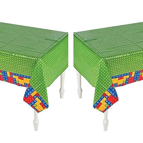 Set of 2- Plastic Color Brick Party Tablecloth - 54'' x 108''