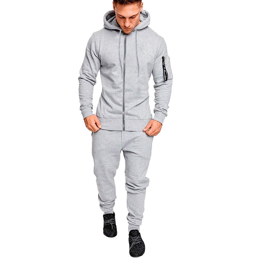 iLXHD Men's Pocket Hoodies Sweatshirt Top Pants Sets Sports Suit Tracksuit(Gray,M)