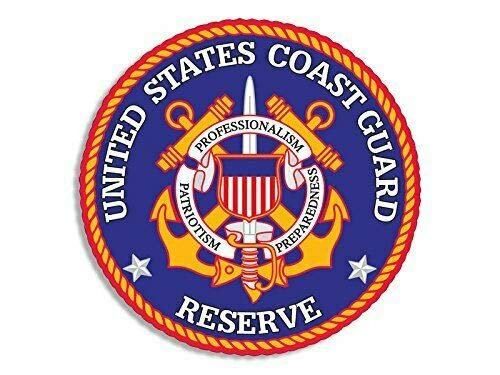 MAGNET 4x4 inch Round Coast Guard Seal RESERVE Sticker (us military logo) Magnetic vinyl bumper sticker sticks to any metal fridge, car, signs ()