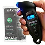 Rhino USA Digital Tire Pressure Gauge 150 PSI, 4 Ranges, Ergonomic Design w/Lighted Nozzle & LCD Backlit Display - Certified Accurate Readings, Best Digital Gage