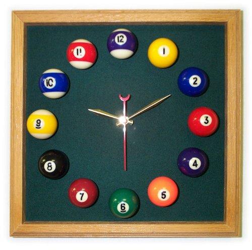 12in Square Billiard Clock Oak Spruce Mali - Felt Clock Square