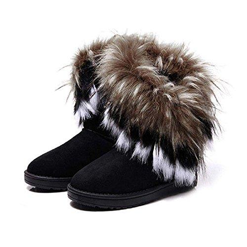 ompson Women Winter Warm Snow Ankle Boots Faux Fur Tassel Shoes Black8 B(M) US