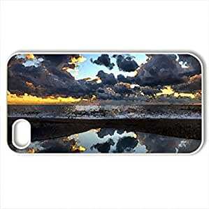 Amazing sunset - Case Cover for iPhone 4 and 4s (Sunsets Series, Watercolor style, White)