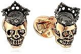 Tateossian Pink Gold Plated Silver Topaz King Skull Crown King Skull XXV Anniversary Limited Cuff Link