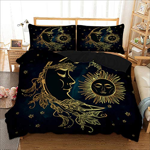 Bohemian Duvet Cover Queen 3D Golden Sun and Moon Printed Bedding Set for Kids Teens Adults Soft Microfiber Mandala Bedding Cover with Zipper Closure,Ties and 2 Pillowcases (Navy Blue, ()