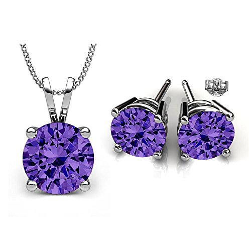 Swarovski Crystals December Birthstone Tanzanite Stud Pendant & Earrings Set ()
