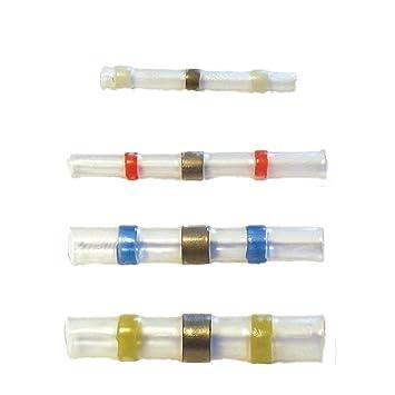 100 conectores retráctiles de soldadura conector de cables (10 blanco/30 rojo/azul 40/20 amarillo): Amazon.es: Electrónica