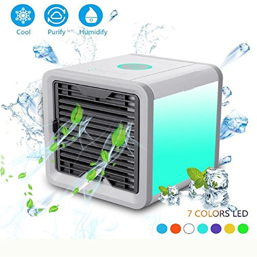 Price comparison product image Yayoshow Air Cooler,  Personal Mini Portable air ConditionerHumidifier,  Purifier 7 Colors Nightstand Office Home Outdoor Travel