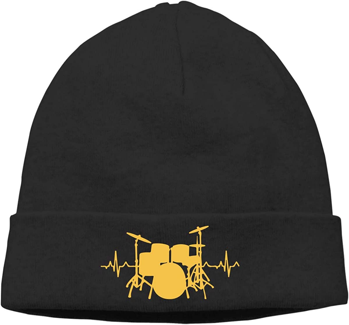 Mens/&Womens Drums Heartbeat Soft Skull Beanie Cap