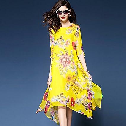 7e41236878b JIALELE La Mujer Plus Size Boho Gasa Vestidos Sueltos de Giro - Floral,  Elegante Chiffon