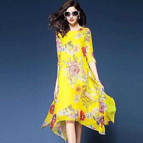 La Amarillo Giro Gasa Boho Imprimir Jialele Plus Sueltos De Chiffon Floral Elegante Size Mujer Vestidos Fd6qAB