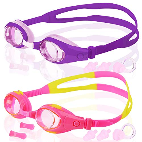COOLOO Kids Swim Goggles, Pack of 2, Swimming Glasses for Children and Early Teens from 3 to 15 Years Old, Anti-Fog, Waterproof, UV Protection, Made (Find Best Price On Prescriptions)