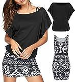 Rainlover Women's 2 Piece Casual Loose T Shirt Tops Print Bodycon Mini Tank Dresses (Large, Black-1)