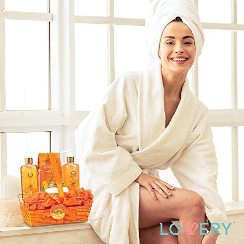 Home Spa Gift Basket – Orange & Mango Fragrance – Luxurious 7 Piece Bath & Body Set For Women & Men, Contains Shower Gel…
