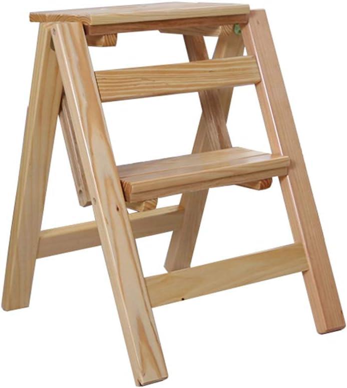 LAXF-stool Estante Expositor | Escalera de Taburete Plegable de 2 peldaños | Silla de Escalera de Madera para el hogar | Escaleras para niños y Adultos | Herramienta Ligera para el hogar