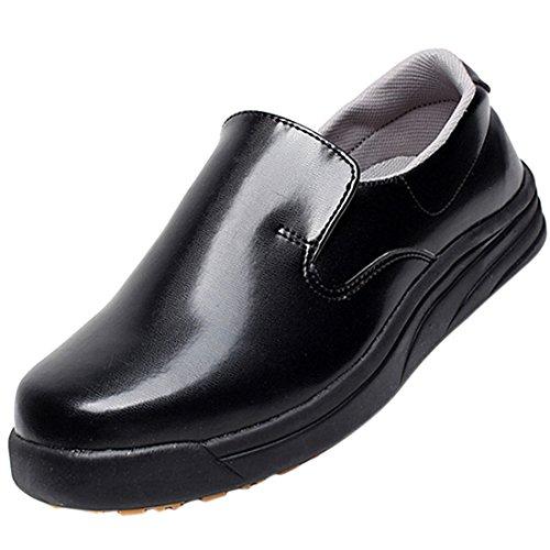 Enerhu Women/Men Work Shoe Leather Slip-on Chef Shoe Slip Resistant Waterproof Oilproof, Black, Asian 37/UK 4.5