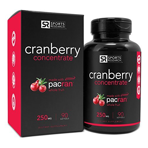 Cranberry Whole Fruit Concentrate (Triple Strength) equivalent to 12500mg of Fresh Cranberries. Made with clinically Proven Pacran® & packed with Antioxidants. Non-Gmo & Gluten Free, 90 Softgels
