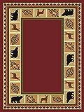 Furnishmyplace Wildlife Bear Moose Rustic Lodge Cabin Lodge Carpet Area Rug, burgundy 8'x11'