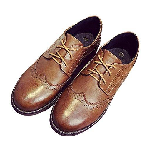 Cher Temps Femmes Lacets Chaussures Richelieu Brun