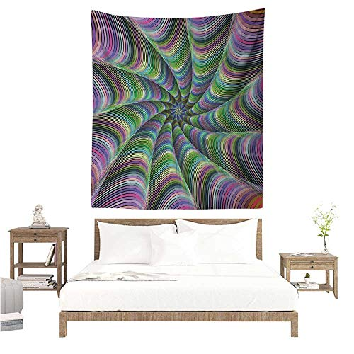 Agoza Fractal Tapestry Hippie Psychedelic Tentacles Converging into Flower Form Infinity Spinning Focus Design Tapestry for Home Decor 54W x 72L INCH Green Purple