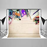 Kate 7x5ft / (2.2x1.5m) Photography Backdrops Wood Desk Stationery Back to School Graduation for Kids Photo Backgrounds Props Cotton Photographic for Backgrounds HJ04333