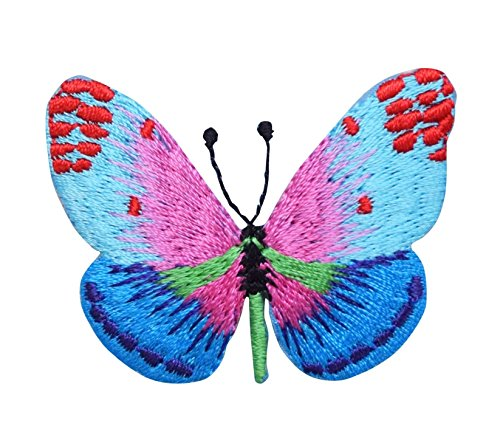Butterfly - Blue/Pink with Red Dots - Iron on Applique/Embroidered ()