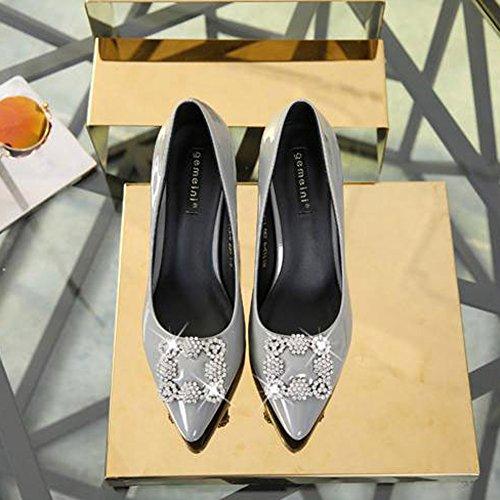 Chaussures Femme Escarpin Mode Talon Aiguille Haut Pumps Pointue Vernis Boucle Clouté Escarpins Gris 39 MZvWdH