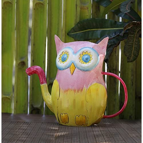 Mothers Day Gift Metal Watering Can in Pink Yellow Owl Shape for Outdoor Indoor Galvanized Water Pot Bucket For Gardening Home Decor Accessories