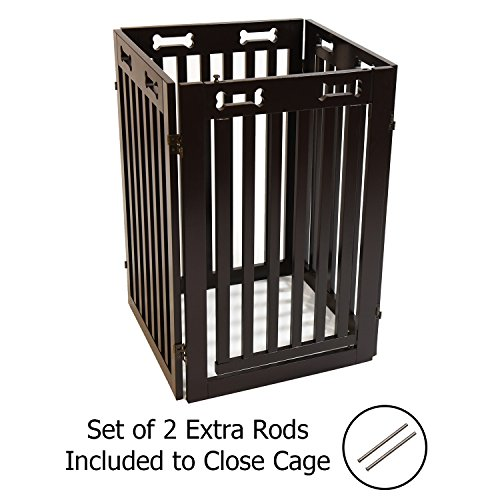Arf Pets Free Standing Wood Dog Gate With Walk Through Door Expands