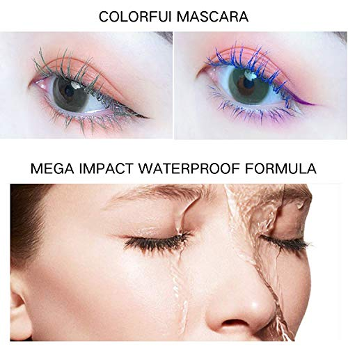 Waterproof Colored Mascara,4D Silk Fiber Lash Mascara,Luxuriously Longer,Thicker,Voluminous Eyelashes,Long-Lasting,Dramatic Extension,Smudge-proof,Hypoallergenic Formula (Blue)