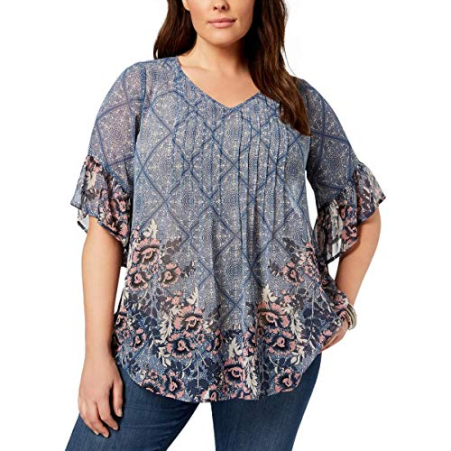 (Style & Co. Womens Plus Crepe Pintuck Pullover Top Blue 1X)