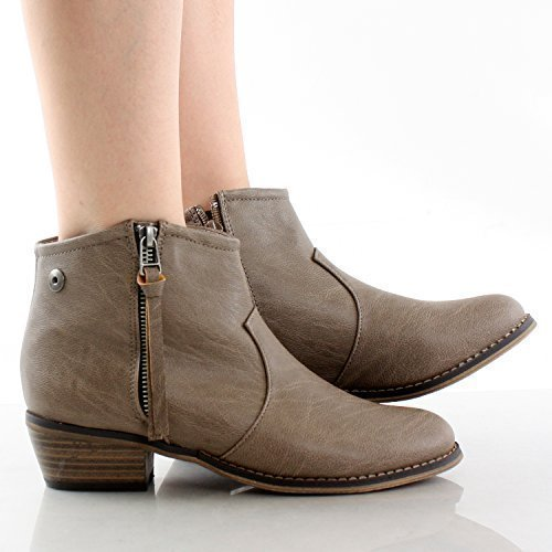 Breckelle's Women's Dorado-11 Western Ankle Boot Beige 8