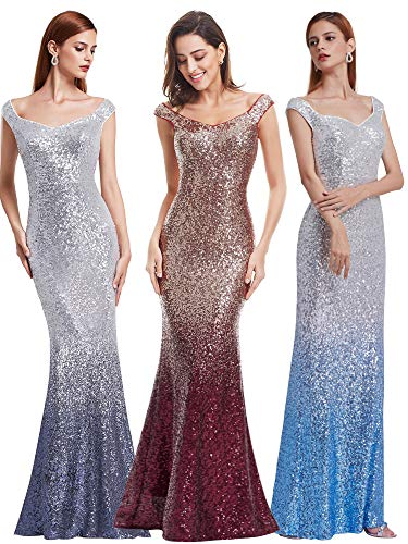 A-line Sequin - Ever-Pretty Sleeveless A-Line Sequins Sexy Evening Gown 10 US Grey