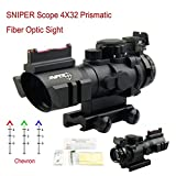 PROSUPPLIES @ SNIPER Tactical 4x32mm Scope Chevron Reticle Fiber Optic Backup Sight Red, Green, Blue Illuminated Reticle - Fiber Optic BUS