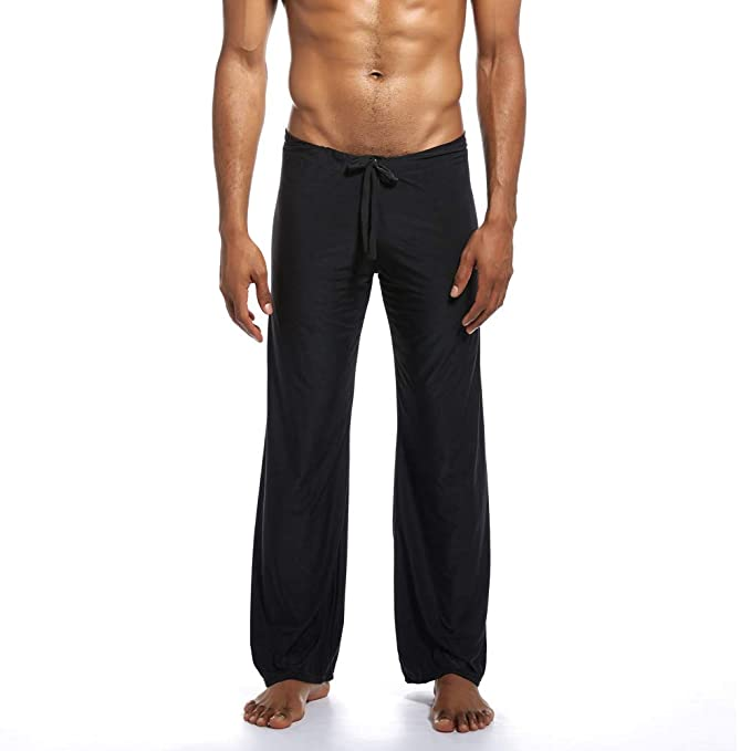 Amazon.com: iTLOTL Mens Pure Home Pants Yoga Pants Tie-up ...