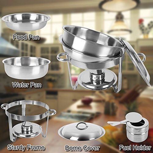 ROSVUN 5 Qt 2 Packed Full Size Upgraded Stainless Steel Chafing Dish Buffet Silver Round Catering Warmer Set with Food and Water Trays, Mirror Cover, Thick Stand Frame for Kitchen Party Banquet by ROVSUN (Image #4)