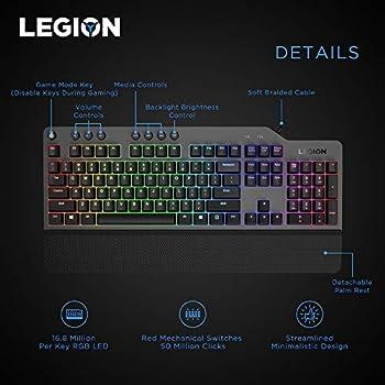 لوحة مفاتيح ألعاب ليجون K500 ميكانيكية بإضاءة بالألون الأحمر والأخضر والأزرق - الولايات المتحدة أسود