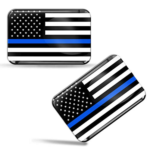 (Skino 2 x 3D Domed Silicone Flag Thin Blue Line USA American Star Car Moto Helmet Stickers Decals F 46)