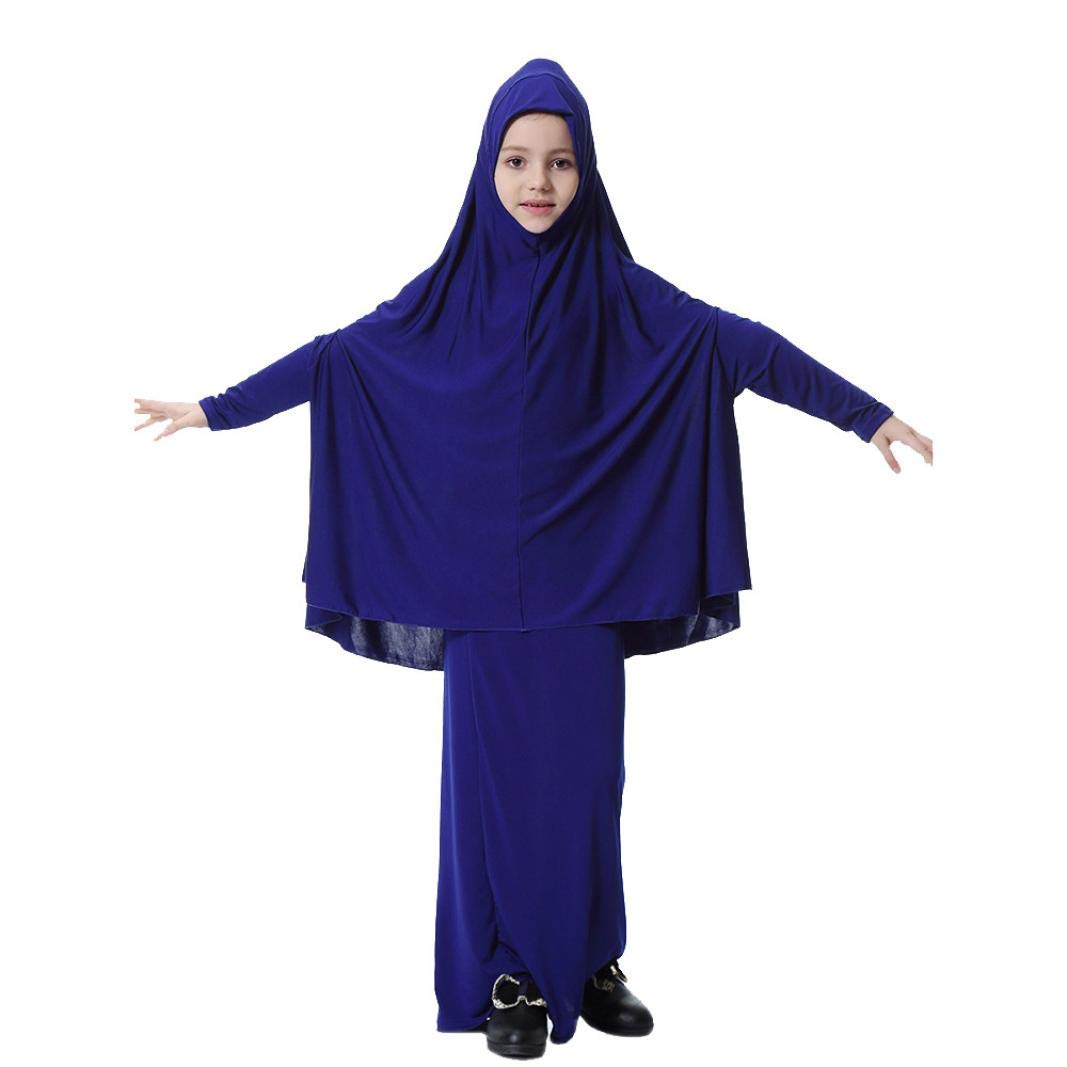 KaiCran Little Girls Muslim Clothing Bat Sleeve Robe Dress Long Skirt Solid Color Outfits Set