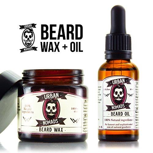 Barbe, huile et cire barbe Value Pack-fabriqués à la main par les nomades urbains - huile naturelle barbe 1 oz - toute la cire naturelle barbe à la bergamote 2 oz.