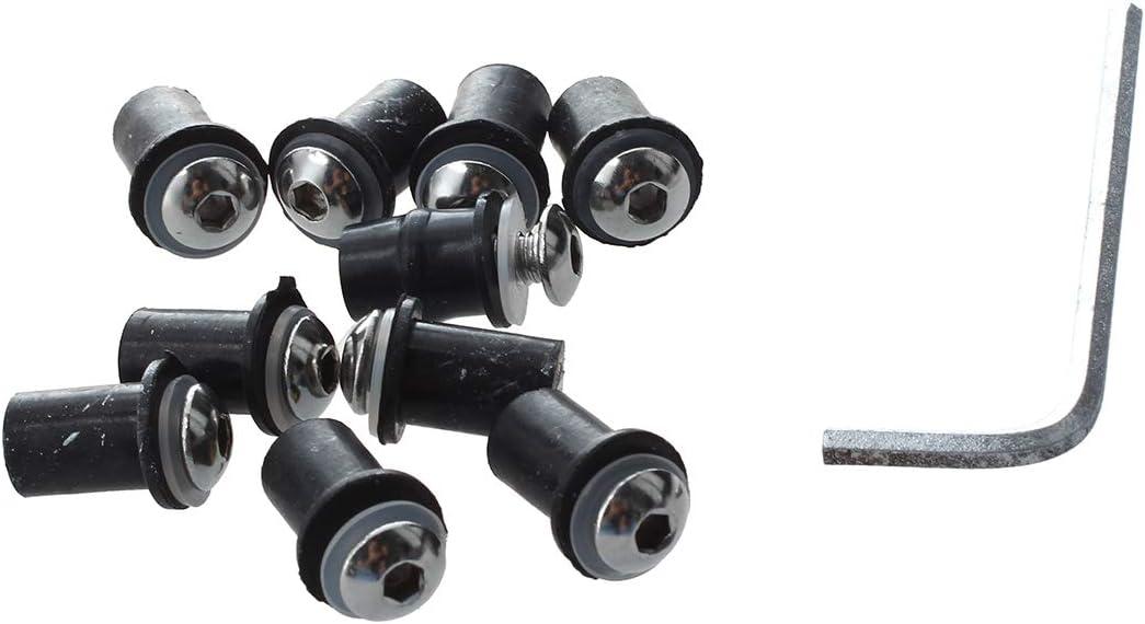 Haude 10X Tornillos 5mm para Parabrisas de Moto