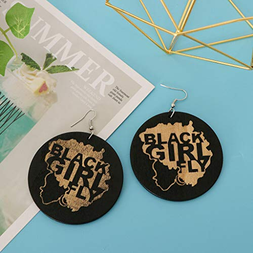 - CuteStylish Earrings Wooden Circle Painted Black Girl Fly Women Earrings Necklace Jewelry Crafting Key Chain Bracelet Pendants Accessories Best