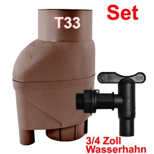 REGENSAMMLER T33 REGENTONNE REGENFASS FÜLLAUTOMAT FALLROHRFILTER m. Laubabweiser braun, REGENSAMMLER 0,2mm- REGENFILTER f. IBC-Tank, Regentank, Regenspeicher, bester Regenwassersammler, Universaleinbau 75-110mm-Fallrohre, SET m. WASSERHAHN, Fallrohrfilter ersetzt Regenklappe, IBC TANK