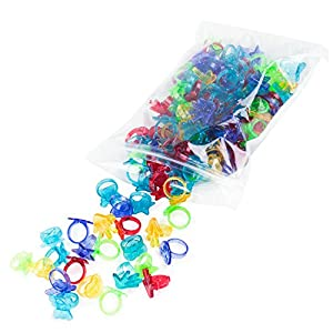 Colorful Assorted Plastic Glitter Toy Rings | Bag Of 144 Rings (Hearts, Bears, Stars, Hands & Flowers) | Use As Party Favors, Cake Toppers, In Goody Bags, Piñatas, Arts, Crafts & More