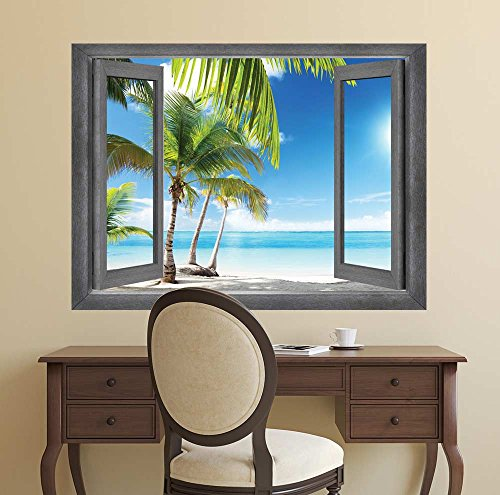 Open Window Creative Wall Decor A Palm Tree Vacation in Paradise Wall Mural